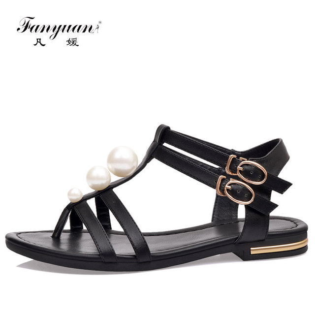 0d59ce1ab434d Fanyuan Brand 2018 Women Shoes New Fashion Summer Women Sandals Rhinestone  Pearl With Leisure Beach Genuine leather Shoes