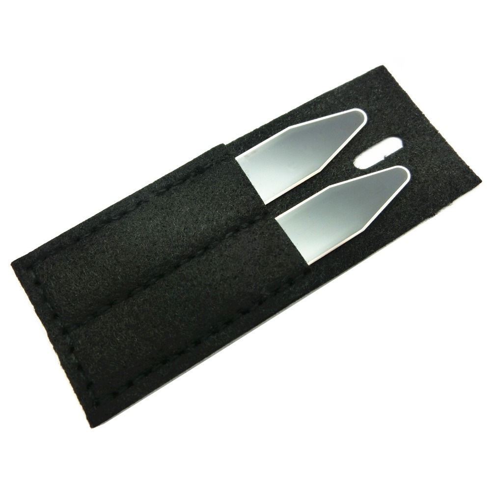 SHANH ZUN Custom Personalized Name Collar Stays Bones For Dress Shirt Black Color 1 Pair