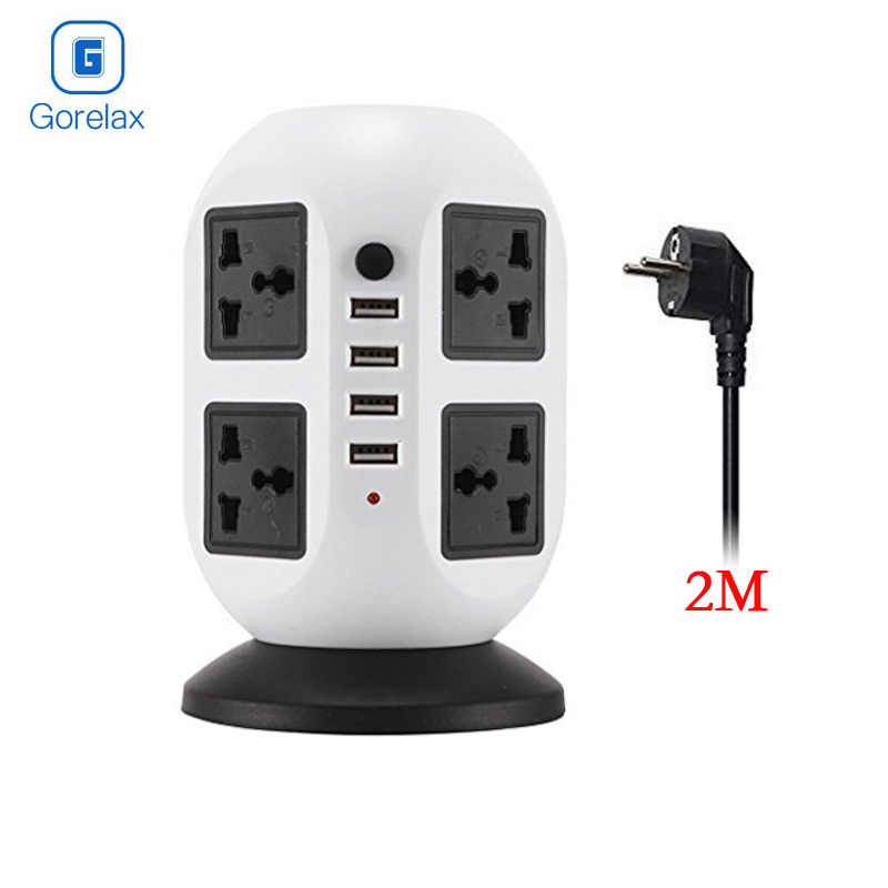 цена на Power Socket Strip, Surge Protector Electrical Power Table Plug Socket With 4 USB Ports 8 Outlet, Kitchen Table Socket EU Plug