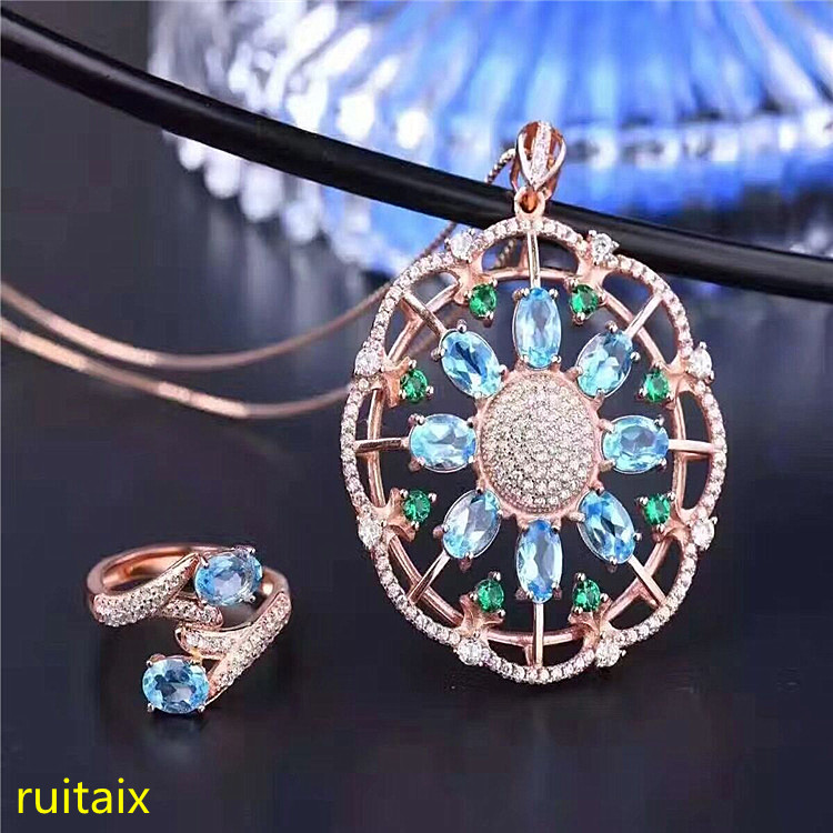 KJJEAXCMY boutique jewels 925 sterling silver inlaid drop blue topaz ring + pendant + necklace jewelry set with silver gold colo цены онлайн