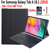 Removable Bluetooth Keyboard Leather Case for Samsung Galaxy Tab A 10.1 2019 T510 T515 SM T510 SM T515 Cover + Screen Protector