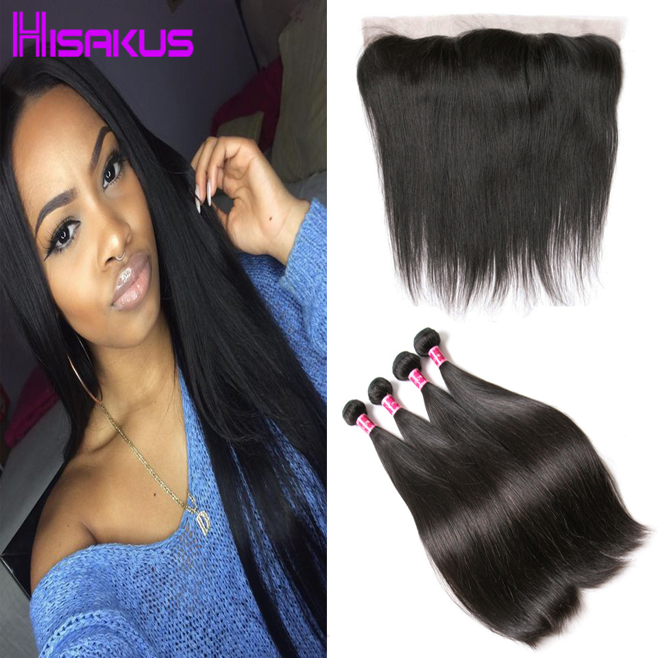 Cheap Bundles of Weave with Frontal 13x4 Ear to Ear Lace Frontal Closure with Bundles Brazilian Straight Hair 3 Bundles Straight