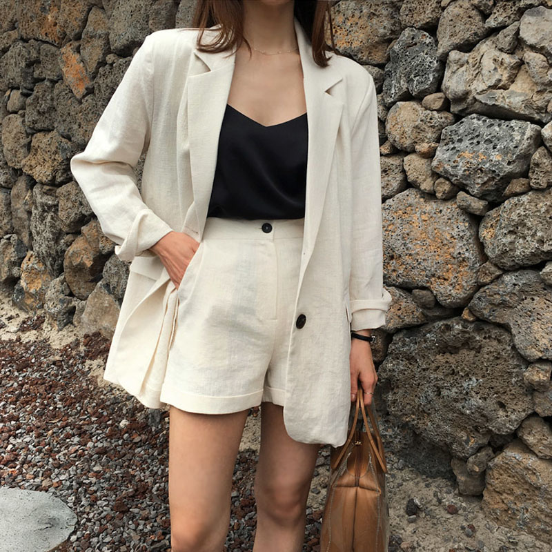 Women's Suit Summer New Linen Fashion Temperament Small Suit Shorts Two-piece Female Casual Loose Thin Cotton And Linen Suit