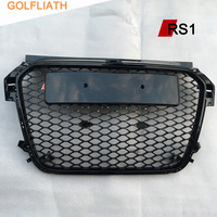 High Quality A1 RS1 Style ABS Black Painted Auto Car HoneyComb Grill Front Bumper Grille For