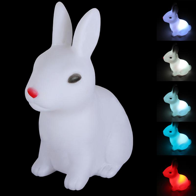 Seven Color Changing Lovely Rabbit LED Night Lamp Light Room Christmas Gift novelty rabbit silicon led night light shake clap atmosphere desk lamp usb charge color changing gift night lamp for christmas