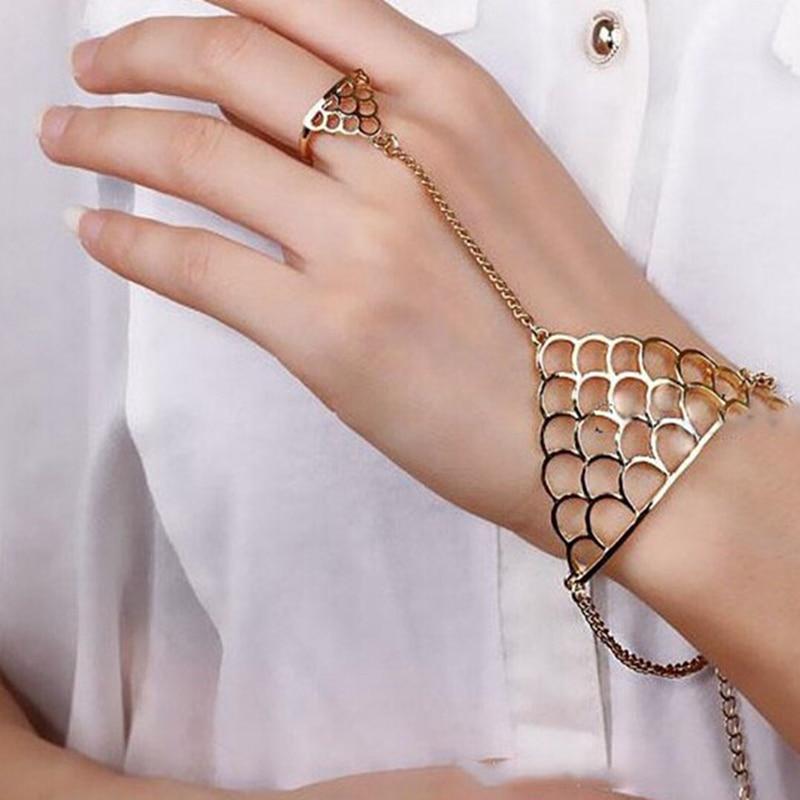 Finger Chain Bracelet Gold Color Hollow Fish Scale Shaped Bracelet ...