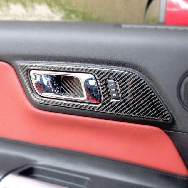 2 шт. Автомобильная панель для межкомнатной двери из углеродного волокна, крышка для двери, наклейка, Накладка для Ford Mustang 2015 2016 2017