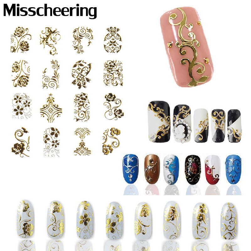 Hot Gold 3D Nail Art Stickers Dekaler, 108pcs / sheet Topp kvalitet Metallic Flowers Mixed Designs Nail Tips Tilbehør Dekorverktøy