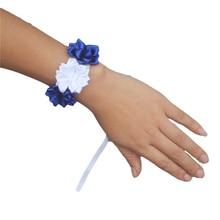 Royal Blue White Satin Flores Wedding Wrist Flowers Bridesmaid de novia Pearls Silk Ribbon Corsages DIY SW0678