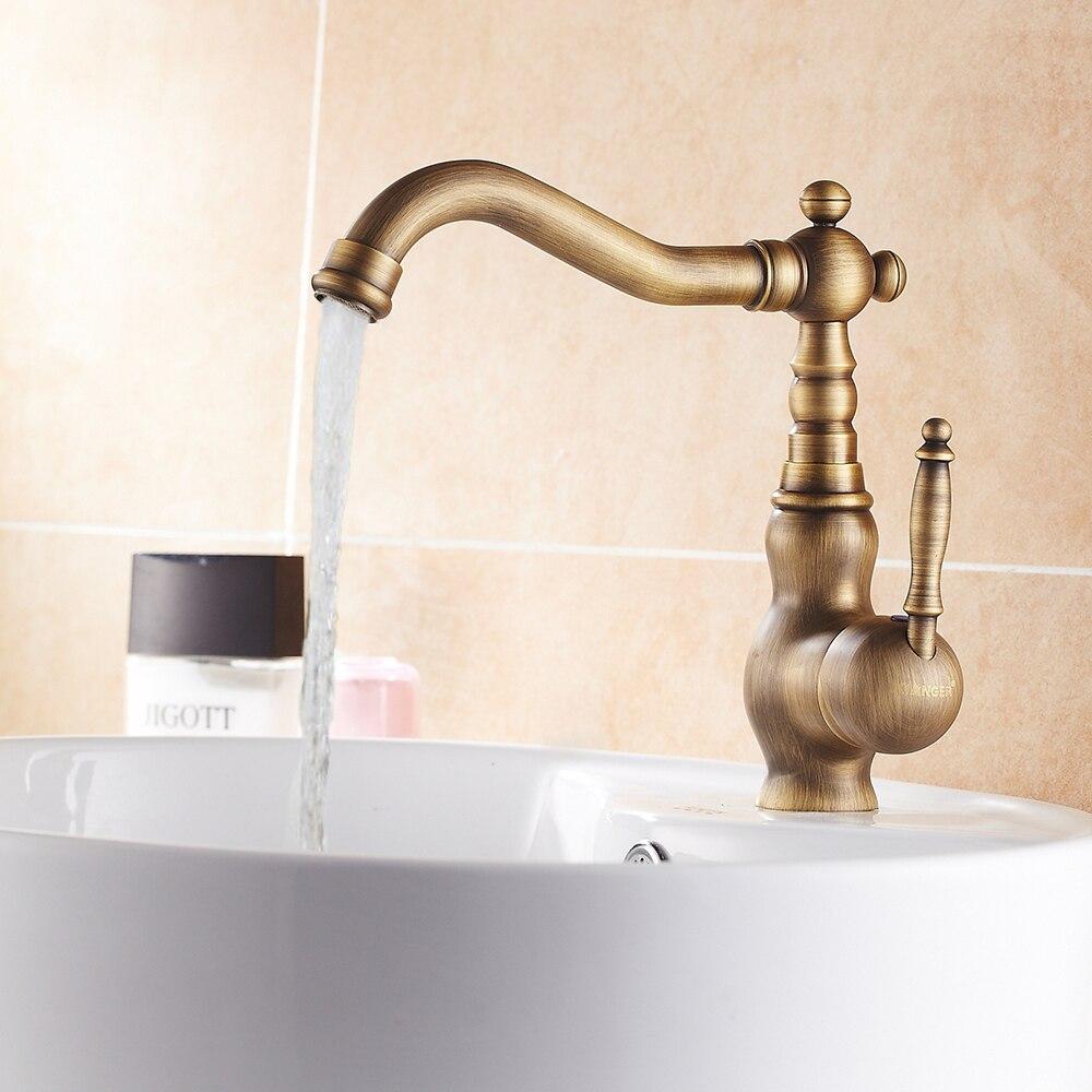 Antique brass Bathroom Faucet Single hold sink Bathroom Mixer Tap ...