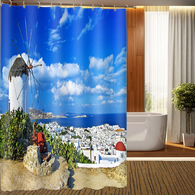 3D Greek Aegean Sea Shower Curtain Custom Printed 3d Waterproof For Bathroom