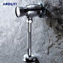 AODEYI латунный писсуарный кран для туалета ручной табурет для ванной клапан самозакрывающийся заподлицо время-Расширенный пресс тип стены задержка писсуар