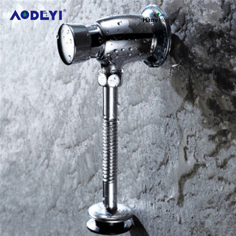 AODEYI Brass Toilet Urinal Flush Valve Manual Bathroom Stool Valve Self-Closing Flush Time-Extended Press Type Wall Delay Urinal image