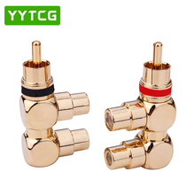 цена на YYTCG 2pcs 1pc red+ 1pc back Gold Plated RCA Plug 1 Male to 2 rca Female AV Audio video Splitter cable Adapter jack connector