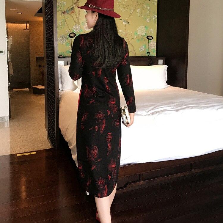 Robe Noir Rose Stand Taille De Plat Femme Chinois Style Collier Bouton Jacquard Automne Nouveau Hiver Grande qwRFvwPS