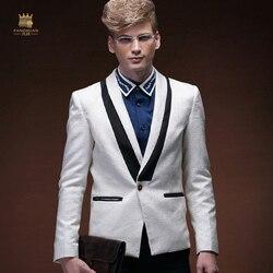 FANZHUAN мужские платья жениха банкетные хосты деловые платья модный тонкий длинный рукав однобортный маленький костюм мужской белый костюм