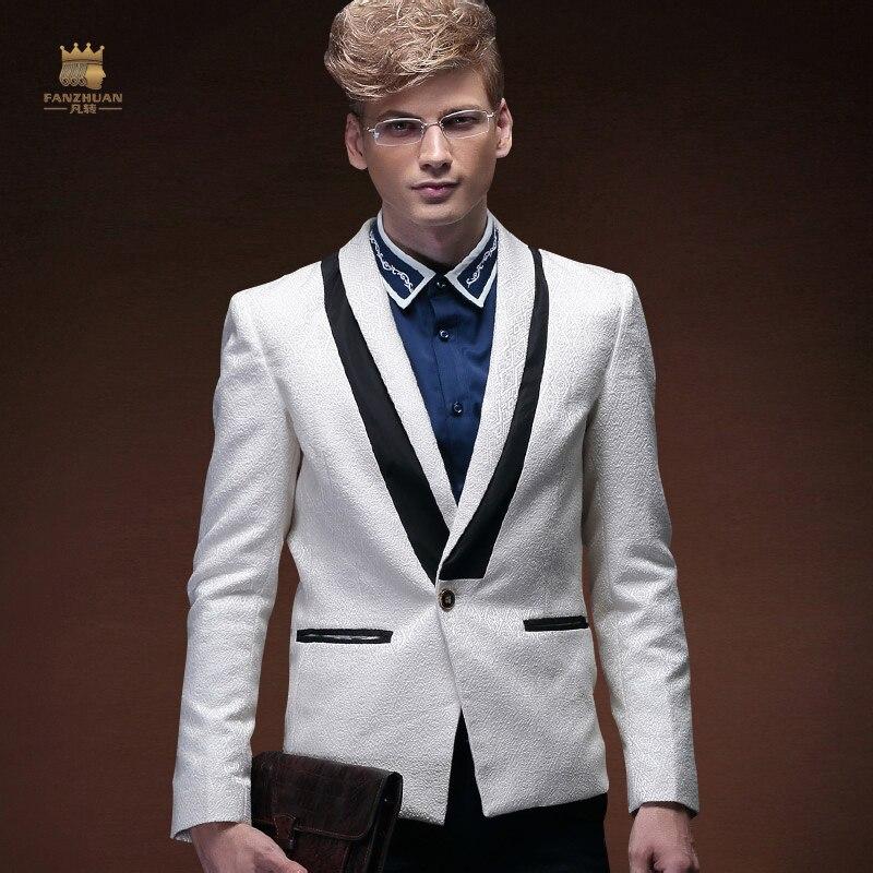 FANZHUAN Men's Dresses Groom Banquet Hosts Business Dresses Fashion Slim Long Sleeve Single-breasted Small Suit Men's White Suit
