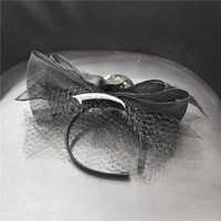 Black Sinamay Fascinator Pearl Hairband Wedding Veil Headwear For Women Sinamay Bowler Headband Ladies Cocktail Party Headwear