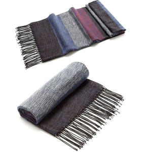 Long Silk Winter Men Wool Cashmere Plaid Tassel Scarf