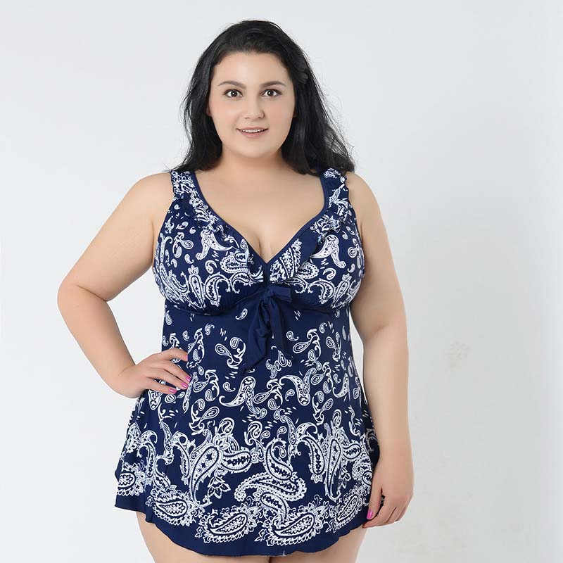 Women Lady Swimwear Fat Swimsuit Lace Off Shoulder Black Bikini Plus Size S-5XL