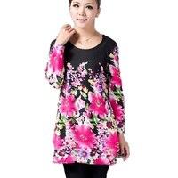 Quinquagenarian T Shirt Female Long Sleeve Plus Size Clothing Medium Long Basic Shirt Loose Spring And