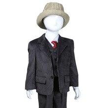 Проворные Новое Прибытие коричневый Плед формальный Плед Пальто + Жилет + Брюки 3 шт. Набор мальчиков костюмы одежда V-образным Вырезом Мальчики костюм Блейзеры L723-9