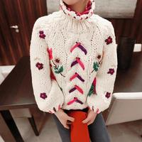 2018 Rushed Women Sweaters And Pullovers Poncho New Sweater Embroidery Thick Rod Needle High Collar Sets Of Embroidered Knitted