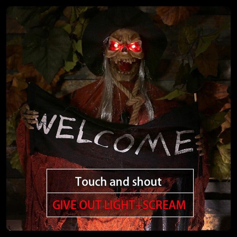 Fantasma Bem-vindo Sinal de Fuga Horror Adereços Casa Assombrada Decoração Halloween Prop Elétrica Voz Hanging Esqueleto Crânio
