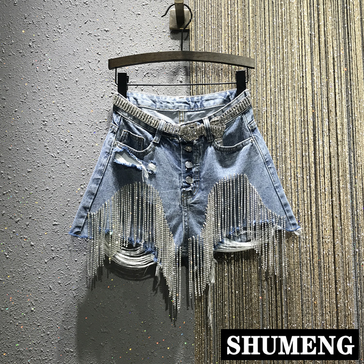 European Summer 2019 New Hole Ripped High Waist Drilling Diamond Chain Short Jeans Slim Jeans Shorts for Women Denim Shorts