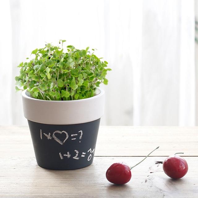 1piece Back To School Blackboard Minature Plant Pots Diy Ideas Chalkboard Flowerpots Herb Mini Gardener