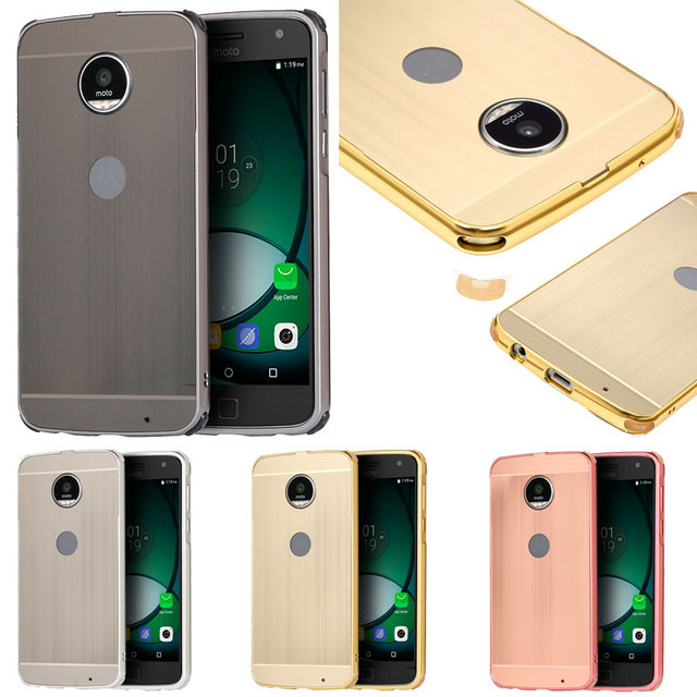 premium selection 3d7ff d0fd7 Luxury Aluminum Metal Frame Bumper For Motorola MOTO Z Play Case Anti Knock  Brushed PC Back Cover Case For Coque Moto Z Play