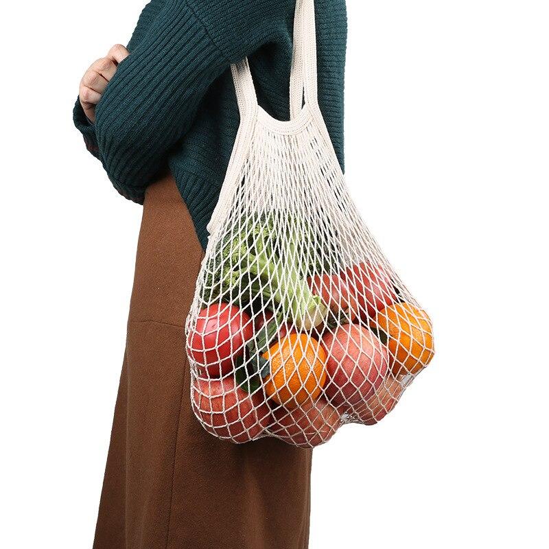 new mesh shopping bag reusable fruit storage handbag woven supermarket green