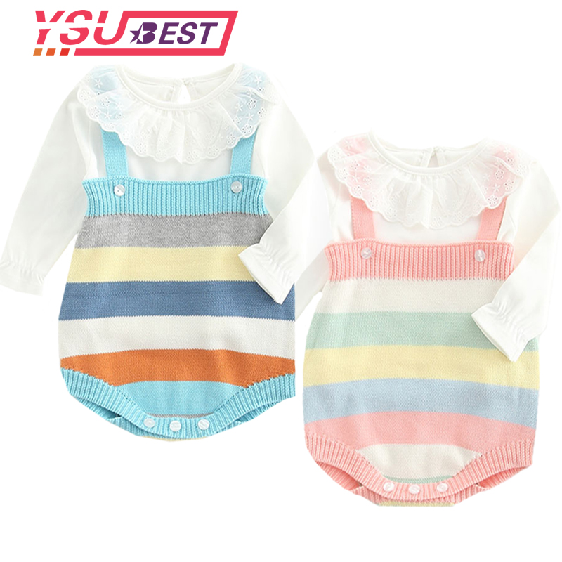 0-3Yrs Newborn Baby   Romper   Boys Girls Baby Clothes Rainbow Woolen Knitted Baby   Rompers   Summer Infant Baby Boys Jumpsuit Overalls