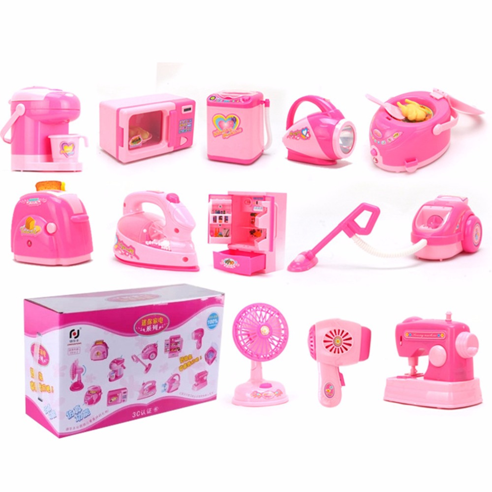 ФОТО 12Pcs Super Combination Mini Microwave+Vacuum+Refrigerator+Other Accessory High Simulation Appliance Pretend Play Toys for Kids