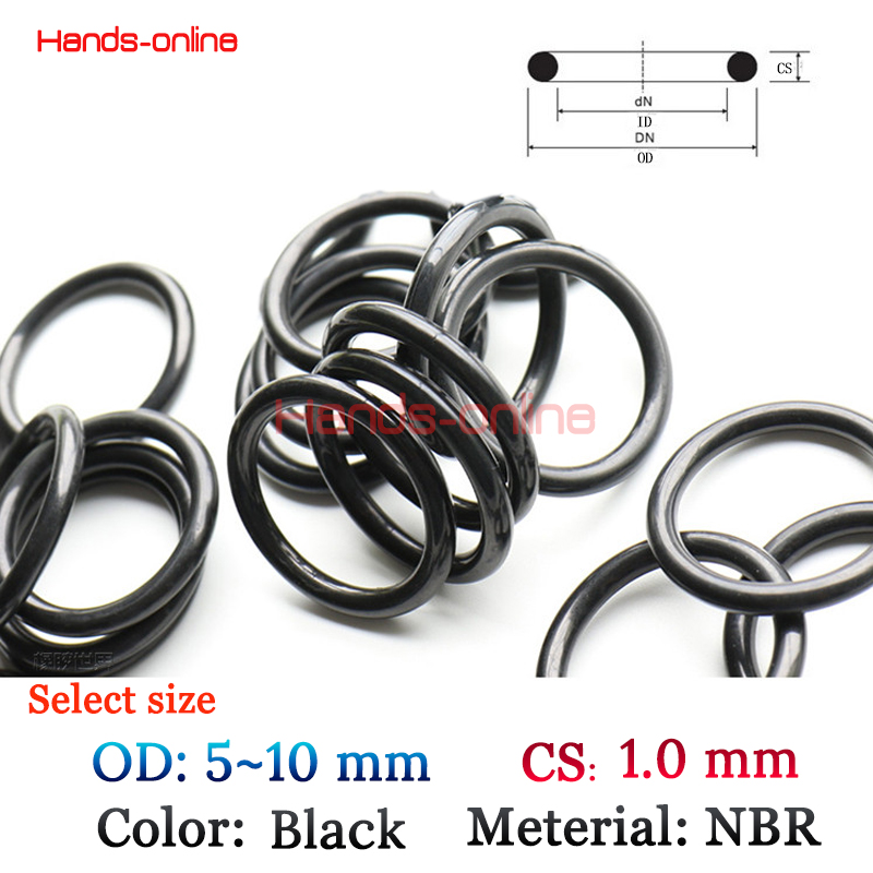 10pcs/lot OD 5/5.2/5.5/6/6.5/7/7.5/8/9/9.5/10 mm O-rings O Ring oil seal resistant NBR sealing o-ring 5~10mm OD x 1.0mm CS metal o rings o ring purse ring connector anti bronze 12 mm 1 2 inch 40pcs u123