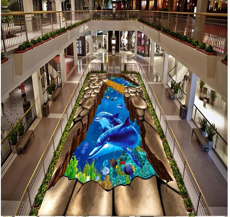 ФОТО Dolphin submarine wooden bridge self-adhesive 3D floor wallpapers PVC waterproof floor Home Decoration