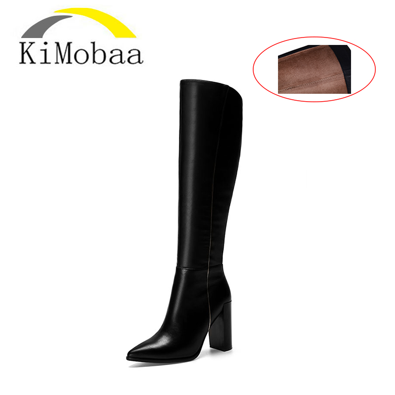 Kimobaa Genuine Leather Women's Boots Winter Shoes Boots Botas for Women Thick High Heel Russia Black Boots Premium CowhideTX123 5pcs call button pager 1 watch receiver wireless pager calling system restaurant waiter calling system f3229a