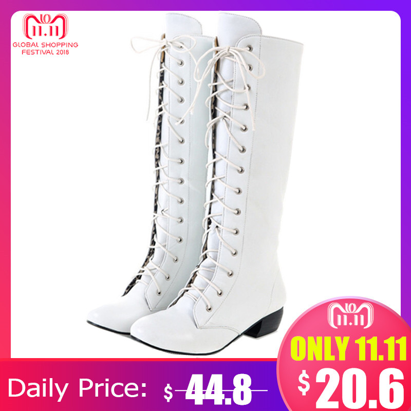 MORAZORA 2018 New fashion knee high boots lace up sexy low heels comfortable high quality autumn women boots white black pink lace up plunge neckline high low sweater