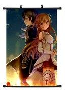 Hot Anime Schwert Art Online Kirito Yuuki Asuna Niedlichen Wohnkultur Poster Wall Scroll E