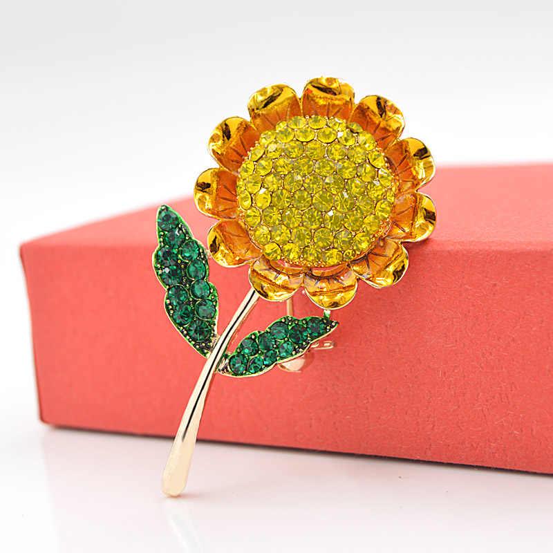 CINDY XIANG ฤดูร้อนสไตล์ดอกทานตะวันเข็มกลัดสำหรับผู้หญิงแฟชั่น Rhinestone เข็มกลัด Pin คุณภาพสูงน่ารักแม่ของขวัญใหม่