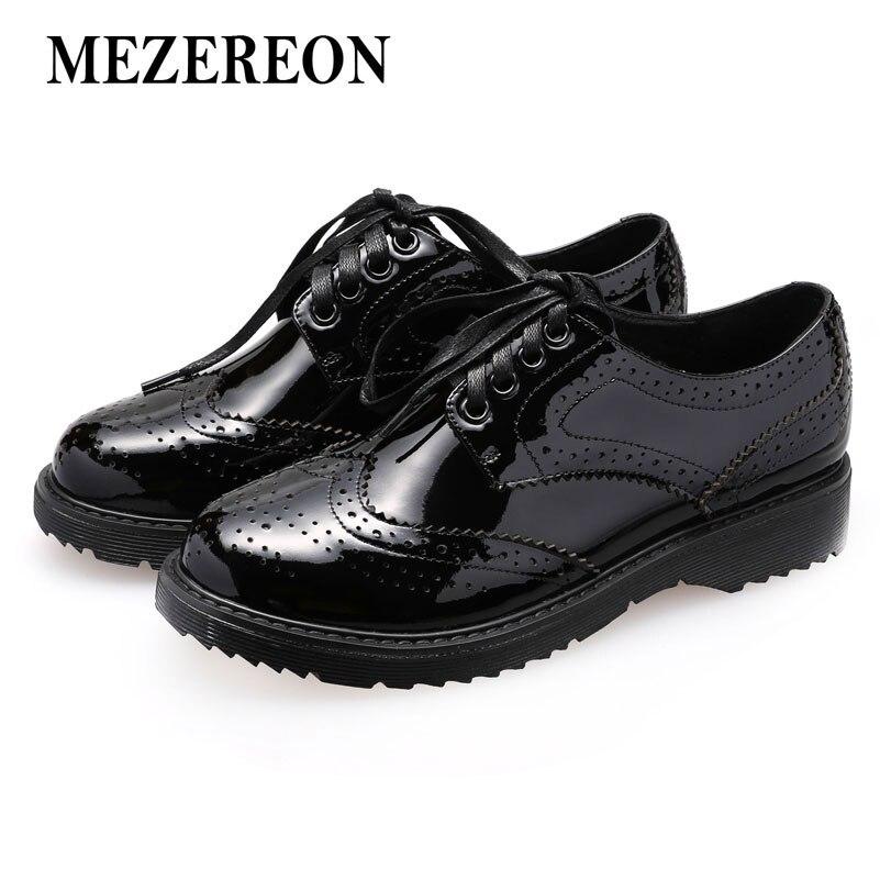 MEZEREON ผู้หญิงรองเท้าหนังแท้ Oxfords Lace   Up รองเท้าผู้หญิงฤดูใบไม้ผลิฤดูใบไม้ร่วงรองเท้าผู้หญิงรอบ Toe แบนรองเท้าสีดำสีแดง-ใน รองเท้าส้นเตี้ยสตรี จาก รองเท้า บน   1