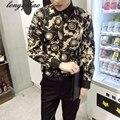 Primavera e no Outono new long-sleeved jovens do sexo masculino impressão lazer tamanho grande forma Magro camisa TB121