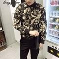 Primavera y Otoño nueva manga larga juventud masculina de impresión de ocio de gran tamaño de la moda camisa Delgada TB121