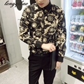 Spring and Autumn new long - sleeved male youth printing leisure large size fashion Slim shirt TB121