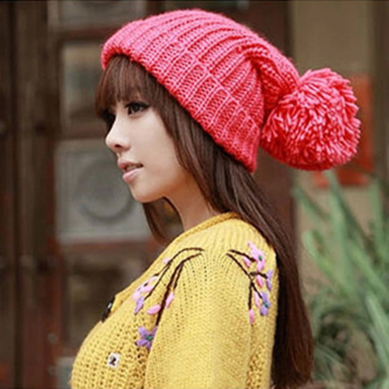 Newest Hot Solid Hairball Knitted Hat Warm Winter Beanie Crochet Pompons Ear Protect Casual Cap Ski Hat Fashion Accessory Unisex