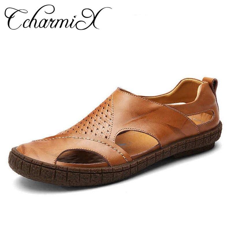 CharmiX קיץ חוף נעלי 2018 מעצבי אופנה גברים סנדלי פיצול עור לגברים להחליק על נעליים יומיומיות גברים נעליים
