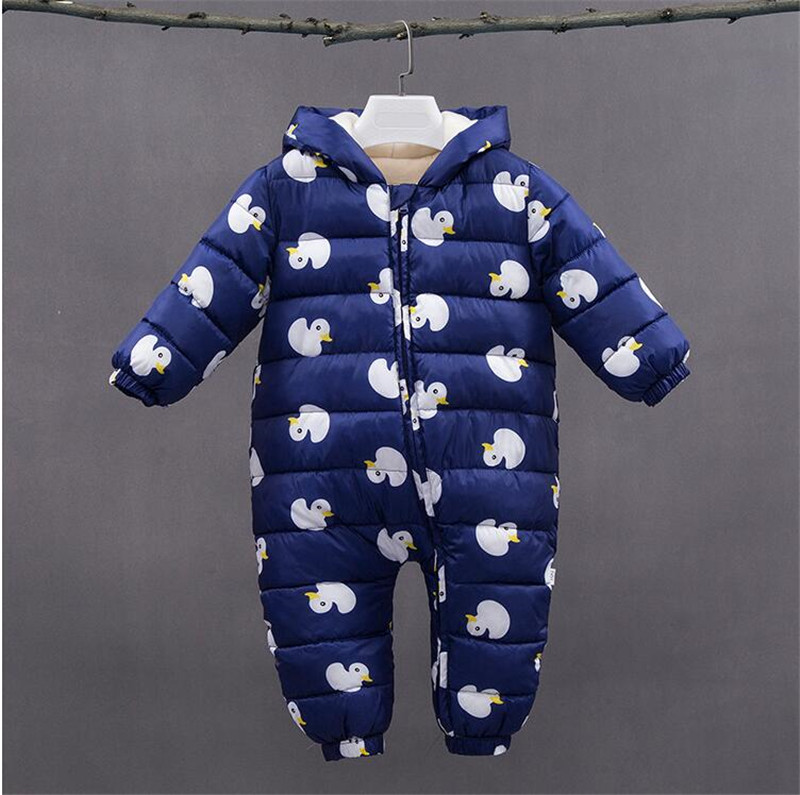BibiCola baby girls rompers winter new 2018 cartoon thicken hooded rompers jumpusits baby casual warm snowsuits pajamas clothing