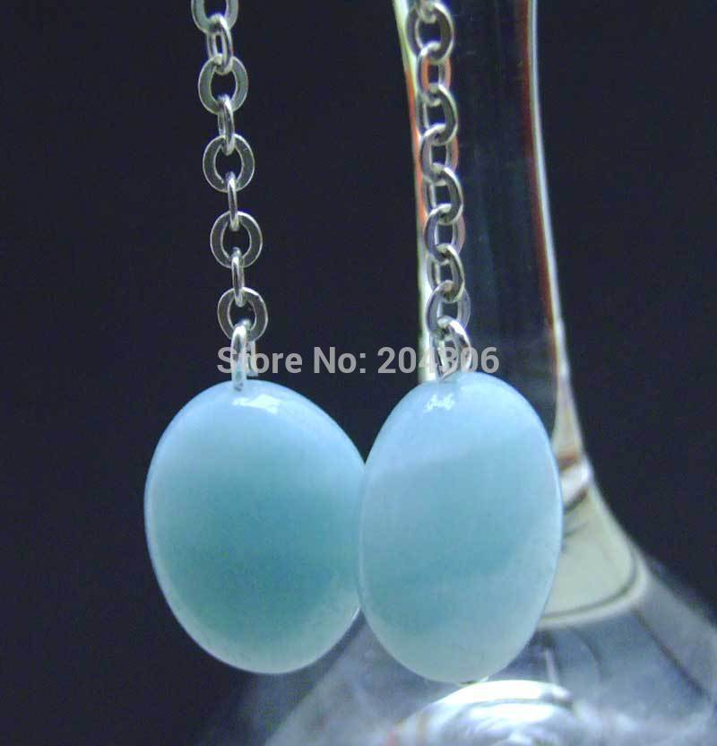 SALE 13*17mm Oval Blue natural Amazonite dangle silver S925 hook earring -ear389 wholesale/retail Free shipping