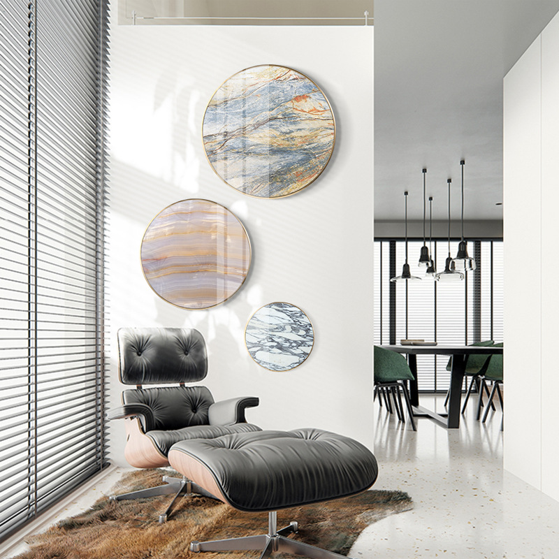 High end luxury round Imitation marble Decorative paintings Entrance corridor studio mural with Metal frame Crystal painting