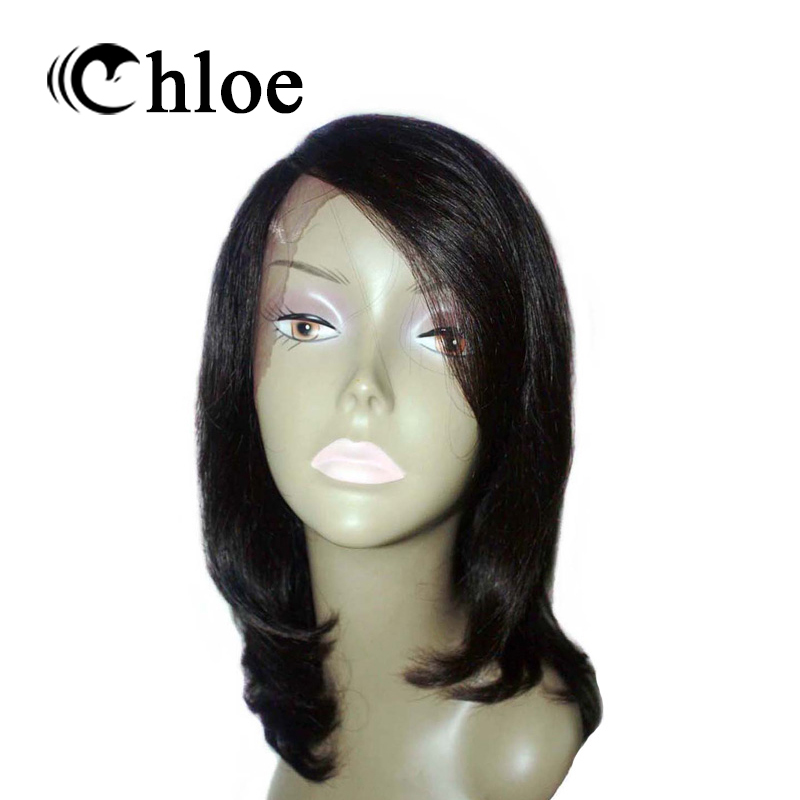 """Chloe Brazilian Remy Human Hair Straight Lace Front Wigs Natural Color 12"""" For Woman"""